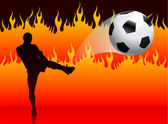 Soccer(Football Player) on Hell Fire Background — Stock Vector