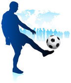 Soccer Player with World Map Background — Stock Vector