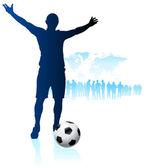 Piłkarz z tle mapy świata — Wektor stockowy