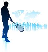 Giocatore di tennis su sfondo di mappa del mondo con la folla — Vettoriale Stock