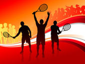 Tennis Team with Red Abstract Crowd — Stock Vector