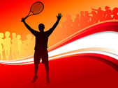 Tennis Player with Red Abstract Crowd — Stock Vector