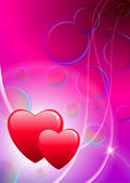Two hearts valentine's day background with Soap Bubbles — Wektor stockowy