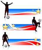 Fußball-spieler mit patriotischen banner — Stockvektor