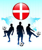 Denmark Flag Icon on Internet Button with Soccer Team — Stock Vector