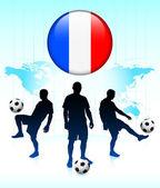 Icono de bandera de francia en botón de internet con el equipo de fútbol — Vector de stock