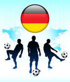Germany Flag Icon on Internet Button with Soccer Team — Stockvector