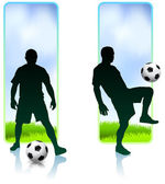 Soccer Player with Nature Banners — Stock Vector