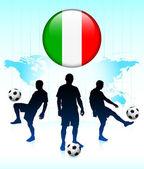 Icono de bandera de italia en botón de internet con el equipo de fútbol — Vector de stock