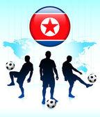 Icône de drapeau de corée sur le bouton internet avec l'équipe de soccer — Vecteur