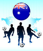 Australia Flag Icon on Internet Button with Soccer Team — Stock Vector