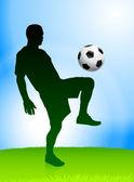 白天背景上的足球运动员 — 图库矢量图片