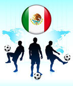 Mexico Flag Icon on Internet Button with Soccer Team — Stock Vector