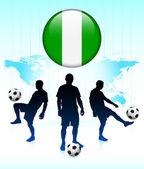 нигерия флагов на кнопку интернет с футбольной команды — Cтоковый вектор