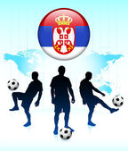 Serbia Flag Icon on Internet Button with Soccer Team — Stock Vector