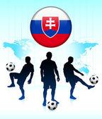 Slovakia Flag Icon on Internet Button with Soccer Team — Stock Vector