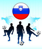 Slovenia Flag Icon on Internet Button with Soccer Team — Stock Vector