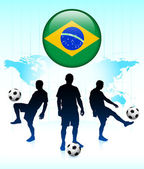 Brazil Flag Icon on Internet Button with Soccer Team — Stockvektor