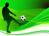 футбол игрок на абстрактный зеленый фон — Cтоковый вектор
