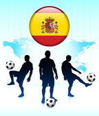 Spain Flag Icon on Internet Button with Soccer Team — Stock Vector