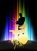 Levande musiker på abstrakt spektrum bakgrund — Stockvektor