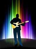 Live Musician on Abstract Spectrum Background — Stock Vector