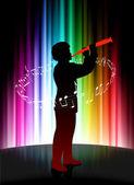 Músico vivo sobre fondo abstracto espectro — Vector de stock