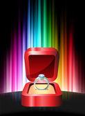 Anello di diamanti su sfondo astratto spettro — Vettoriale Stock