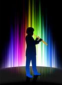 抽象的なスペクトルの背景に生きている音楽家 — ストックベクタ