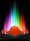 Cera sellar botón del icono en el fondo del espectro abstracto — Vector de stock