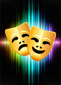 Comedy and Tragedy Masks on Abstract Spectrum Background — Stock Vector
