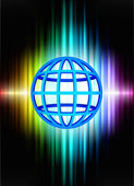 Globe on Abstract Spectrum Background — Stock Vector