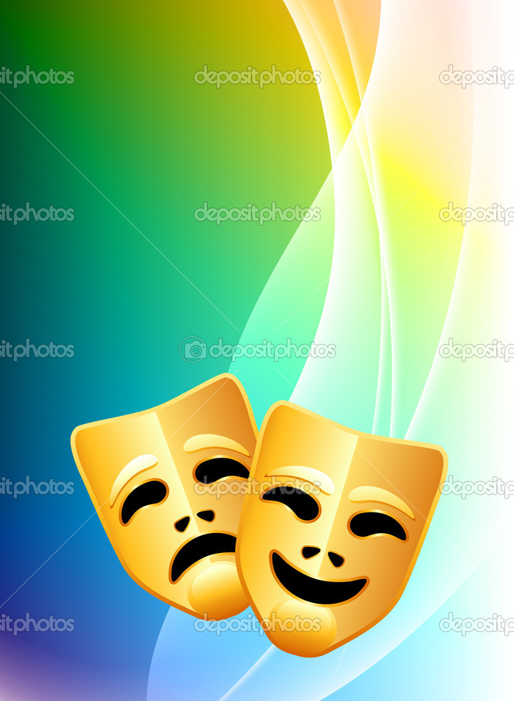 Comedy and Tragedy Masks on Abstract Color Background ...