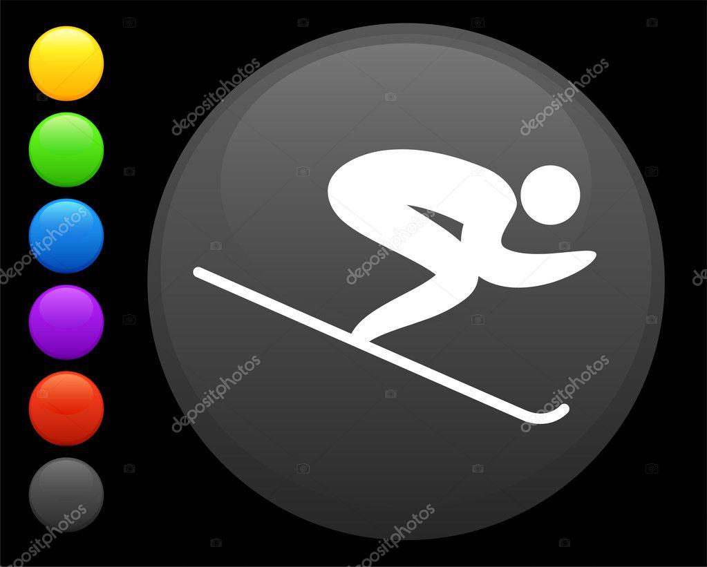 滑雪一轮互联网按钮上的图标 — 图库矢量图片 #6506559