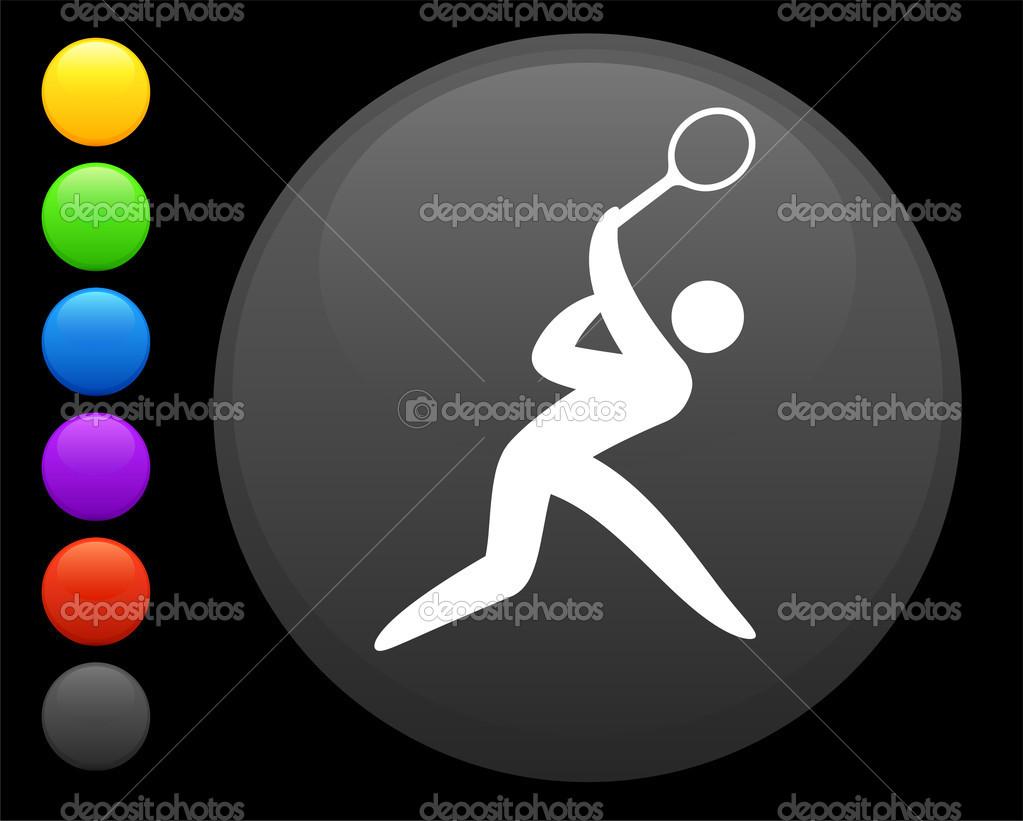 Tennis icon on round internet buttonoriginal vector illustration6 color versions included — Stock Vector #6506594