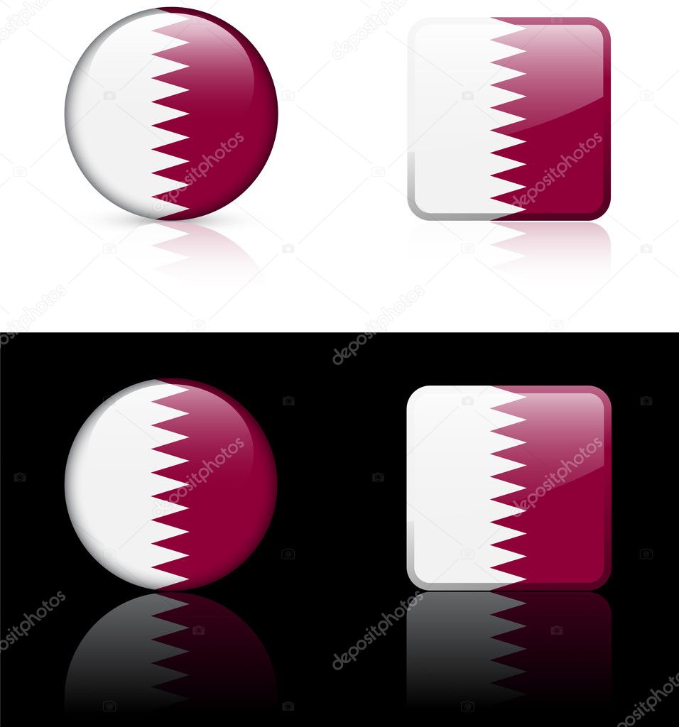 Qatar Flag Buttons on White and Black BackgroundOriginal Vector IllustrationAI8 Compatible  Stock Vector #6507251