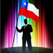 Chile Flag with Businessman on Abstract Spectrum Background — Stock Vector