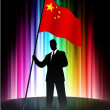 China Flag with Businessman on Abstract Spectrum Background — Stock Vector