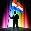 Croatia Flag with Businessman on Abstract Spectrum Background — Stock Vector