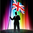 Great Britain Flag with Businessman on Abstract Spectrum Backgro — Stock Vector