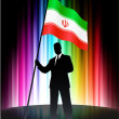 Iran Flag with Businessman on Abstract Spectrum Background - Stock Vector