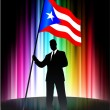 Puerto Rico Flag with Businessman on Abstract Spectrum Backgroun - Stock Vector