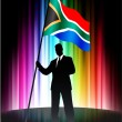 Royalty-Free Stock Vector Image: South Africa Flag with Businessman on Abstract Spectrum Backgrou