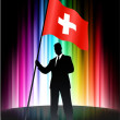 Switzerland Flag with Businessman on Abstract Spectrum Backgroun — Grafika wektorowa