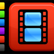 Film icon on square internet button — Imagen vectorial