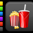 Popcorn and soda icon on square internet button - Stock Vector