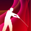 Karate Sensei with Sword on Abstract Violet Wave Background — ベクター素材ストック