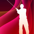 Karate Sensei with Sword on Abstract Violet Wave Background — 图库矢量图片