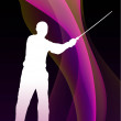 Stock Vector: Karate Sensei with Sword on Flowing Purple Wave Background