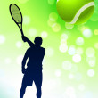 Stock Vector: Tennis Player on Green Lens Flare Background